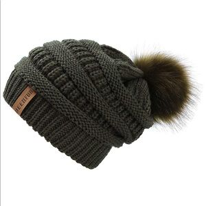 Olive 5⭐️Rated Slouchy PomPom Beanie